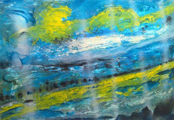 paesaggio in blu e giallo